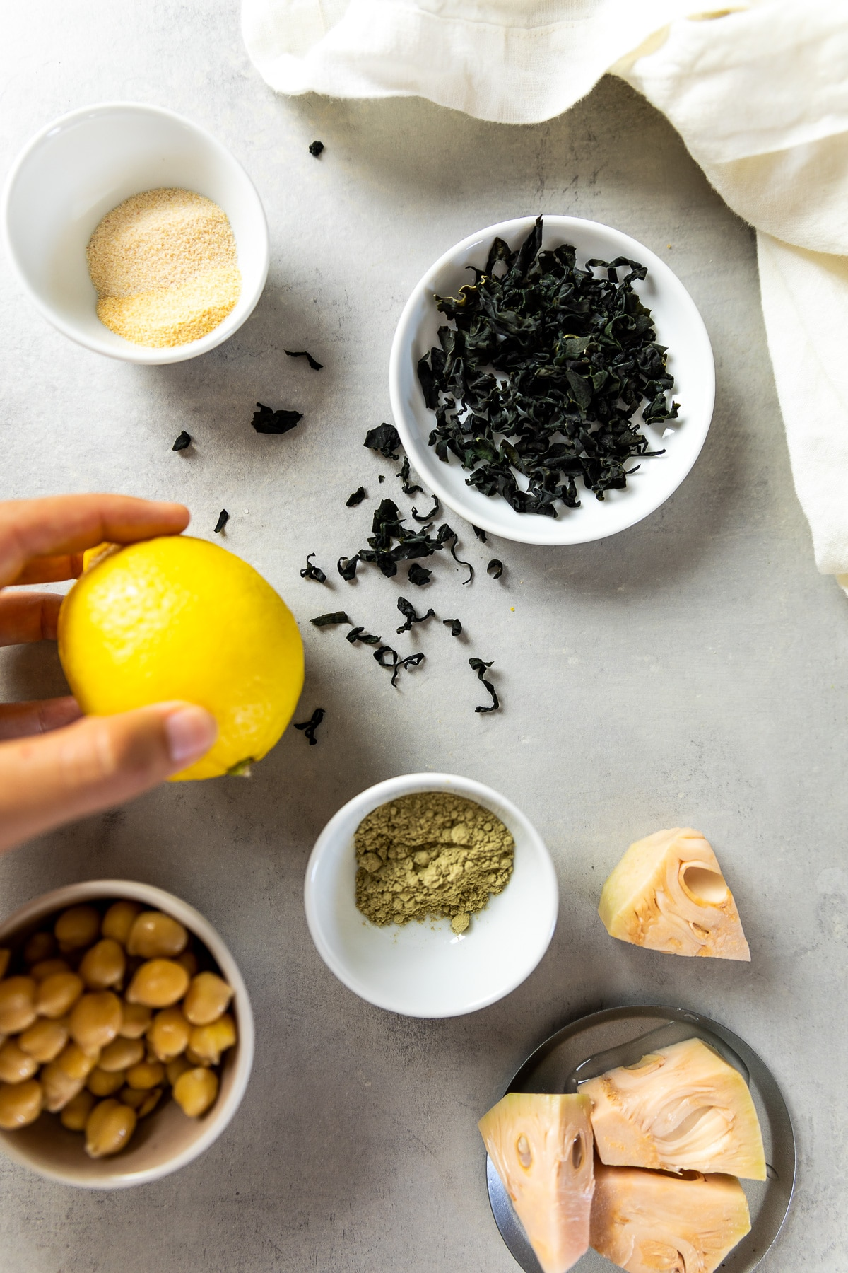 Ingredient shot for the vegan tuna salad sandwich