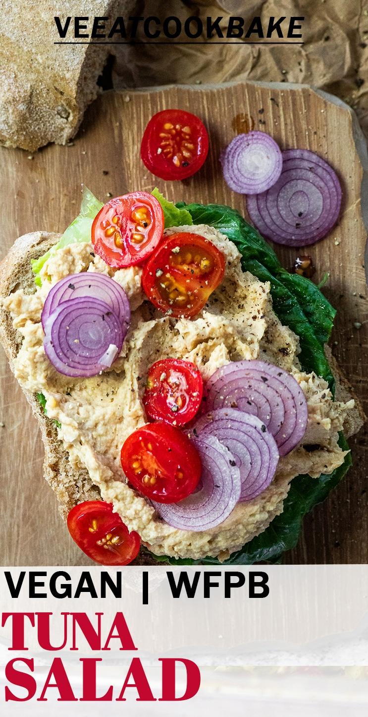 Vegan tuna salad toast on a board with text