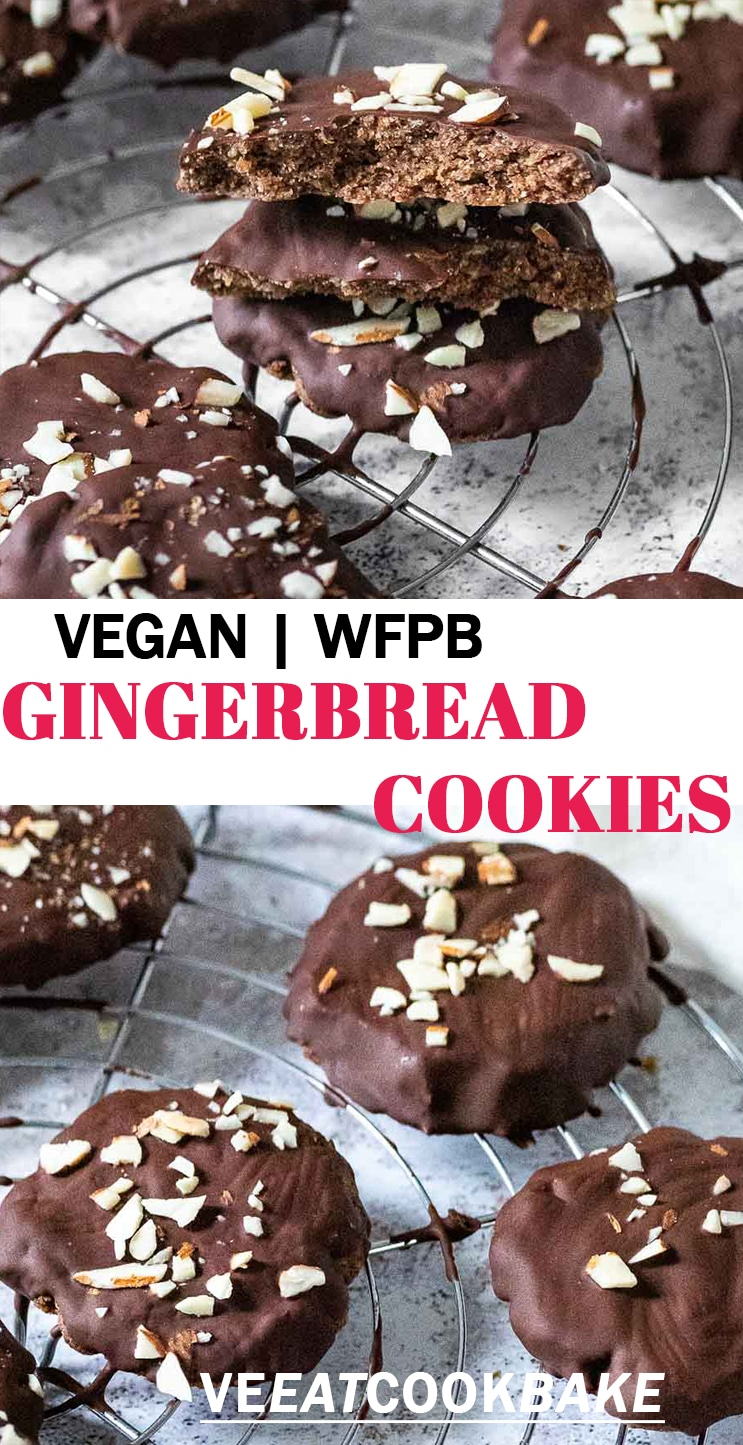 Two photos of vegan gluten free gingerbreads with text.