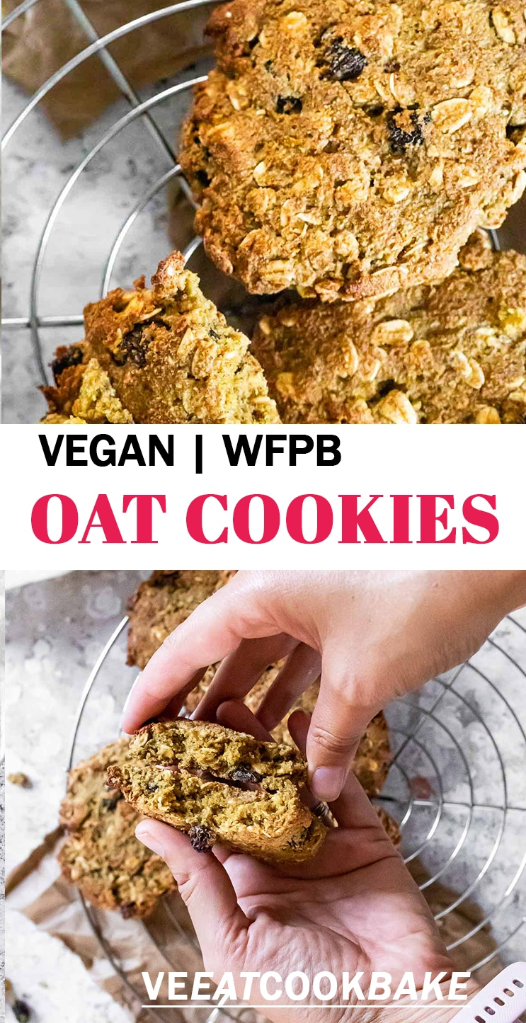 Two photos of oat cookies with text.