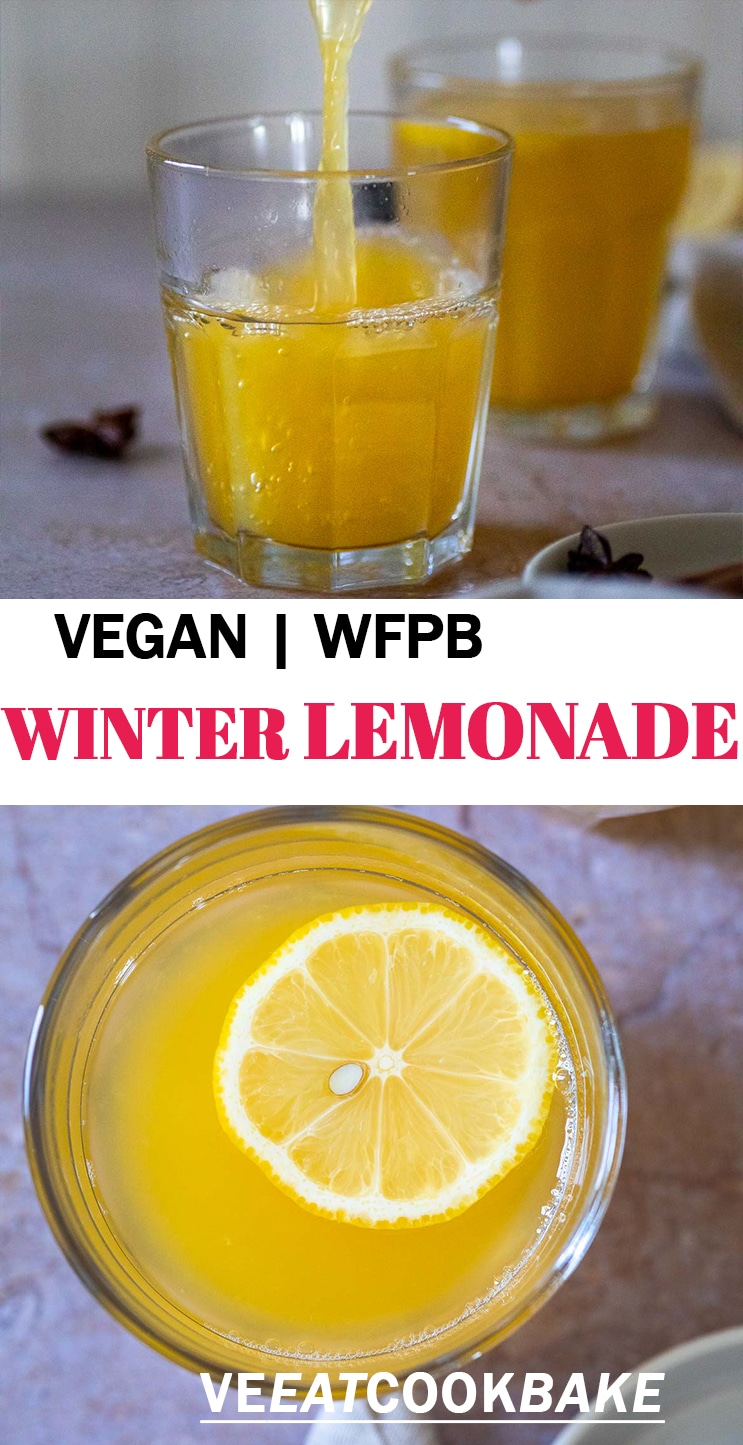 Two Photos of sugar free winter lemonade with text
