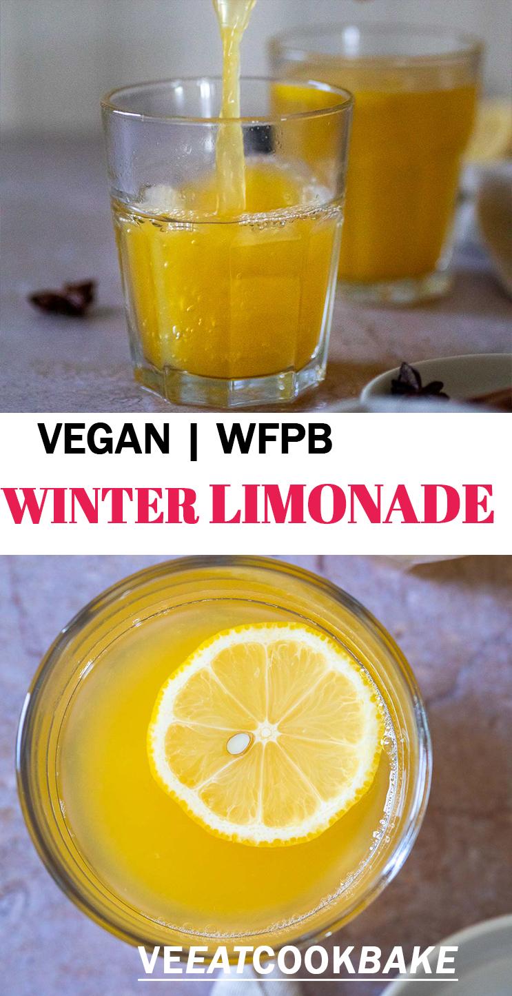 Zwei Fotos der zuckerfreien Winterlimonade mit Text