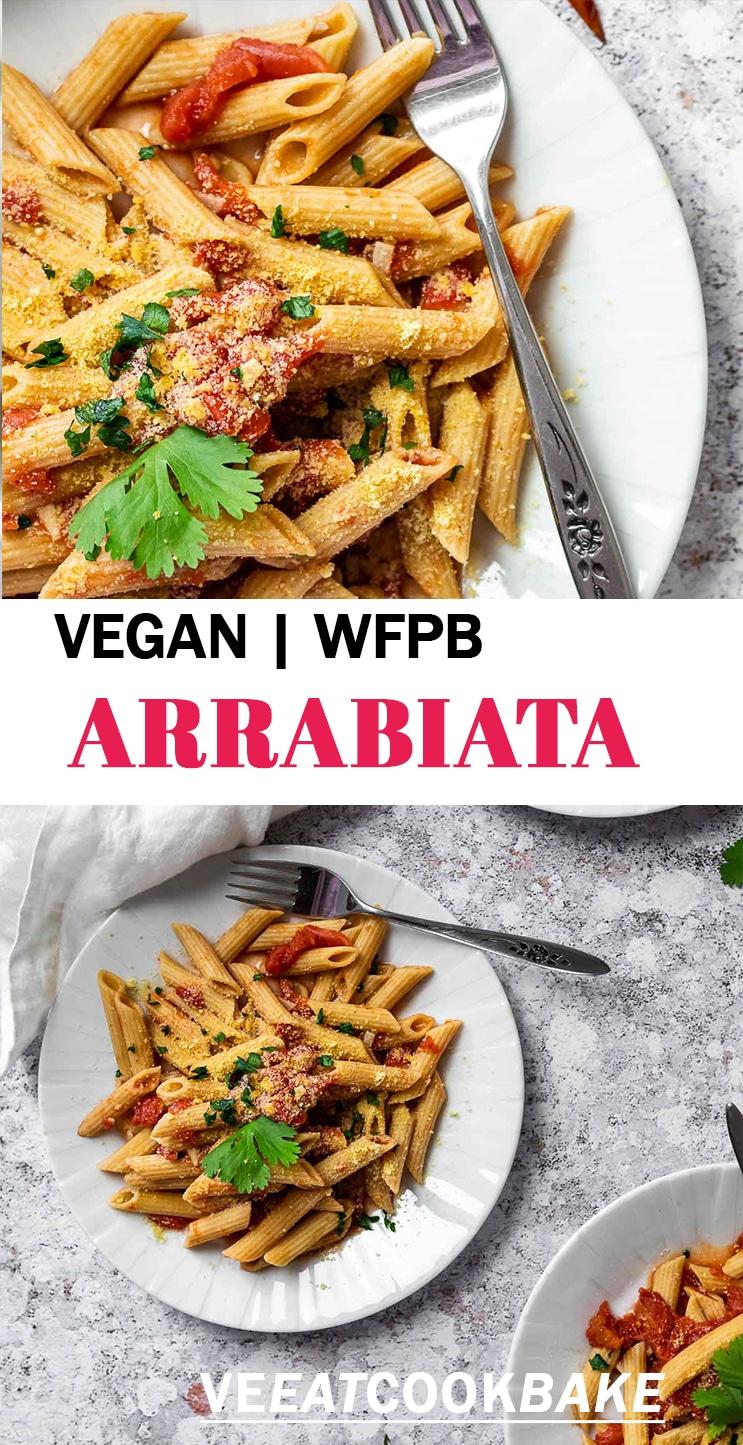 Two Photos of Pasta arrabiata with text.