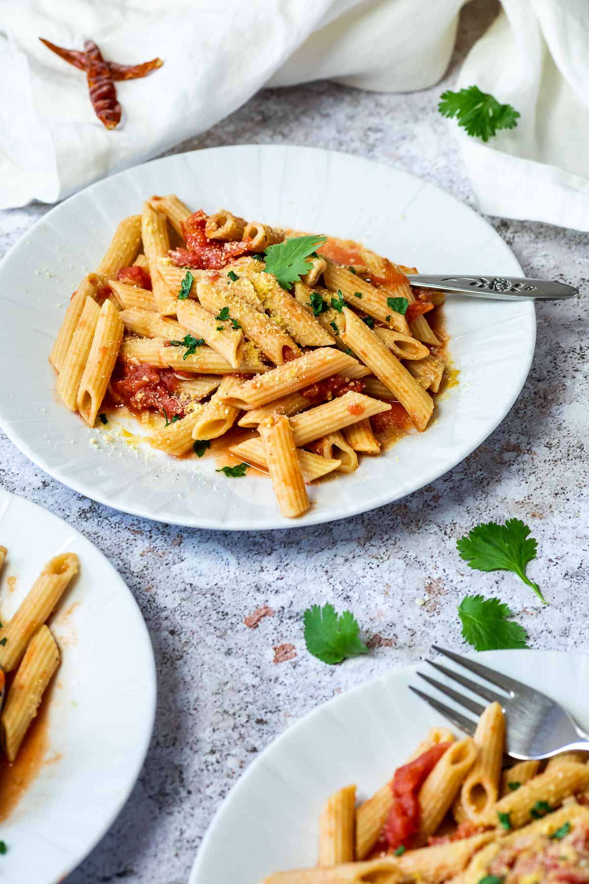 Close up of one plate with penne arrabiata