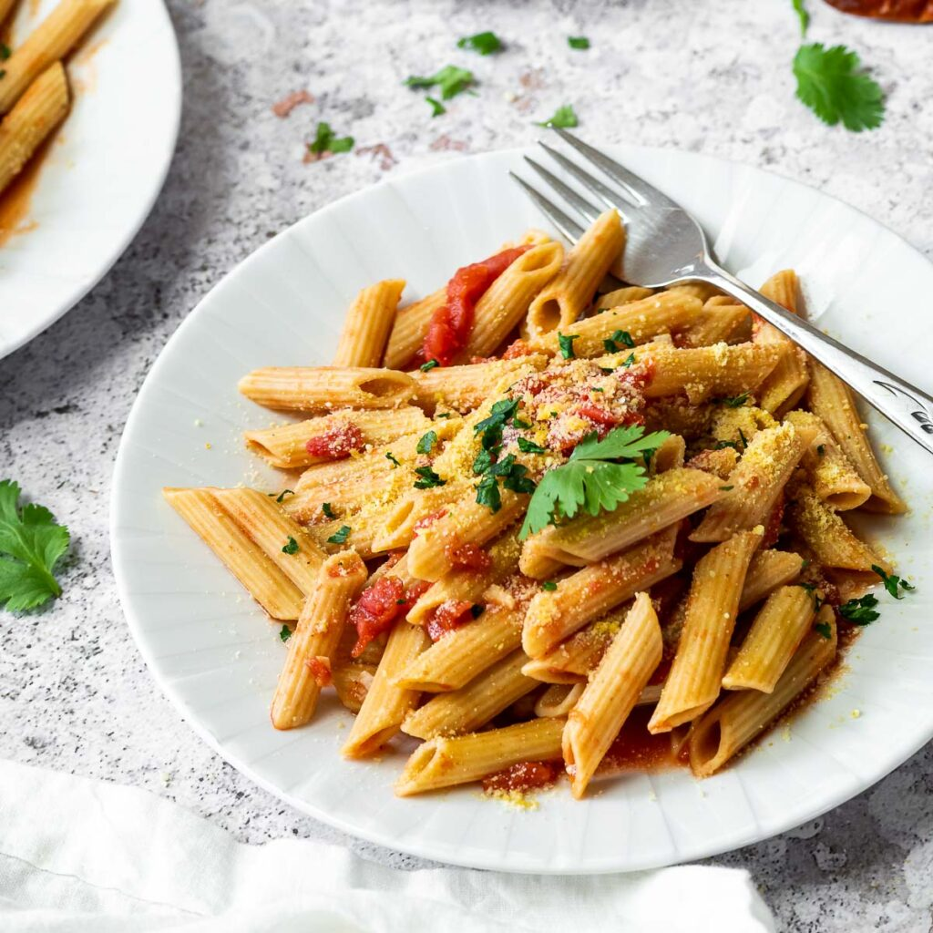 A plate full with pil free Penne All'Arrabiata