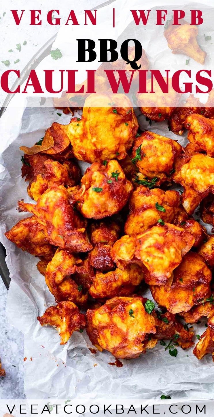Graphic of vegan cauliflower wings with text