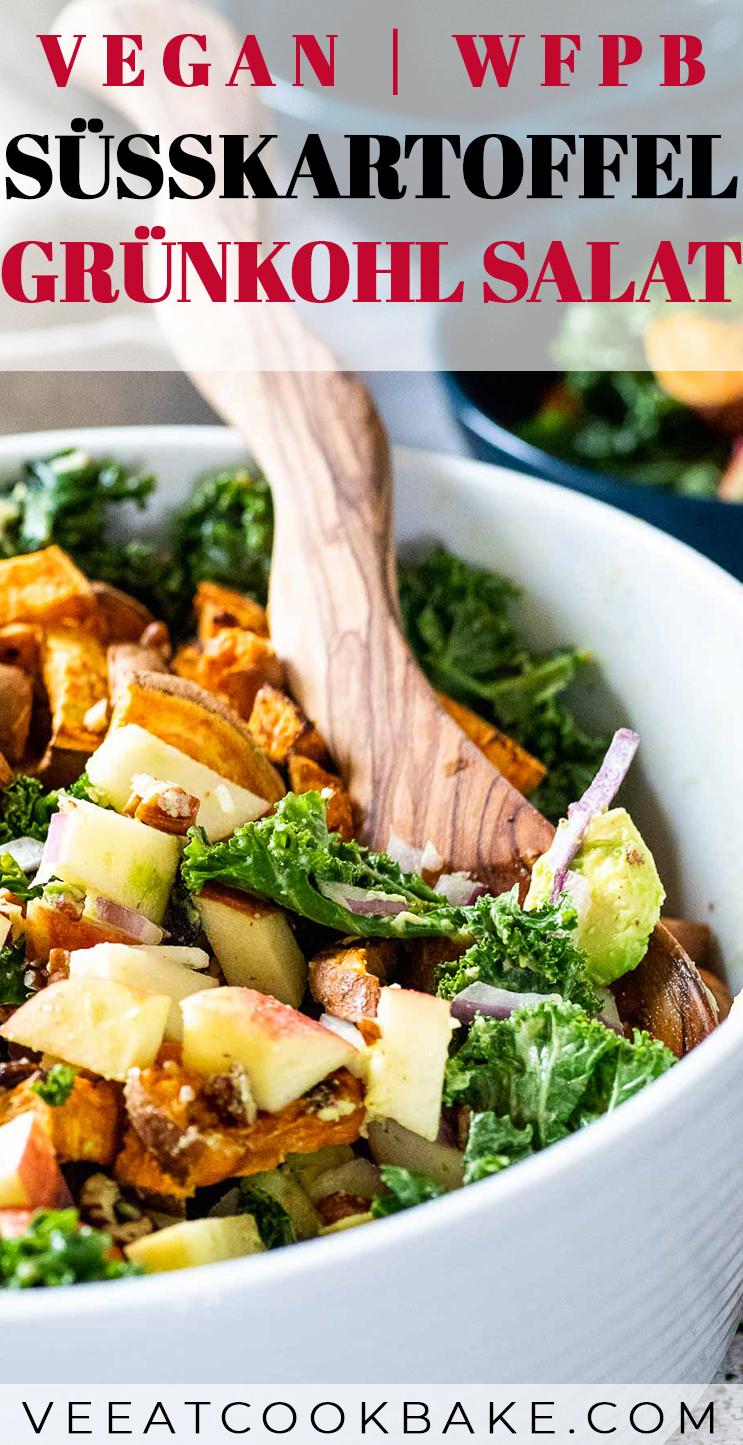 Grafik von einem veganen Grünkohlsalats mit Text