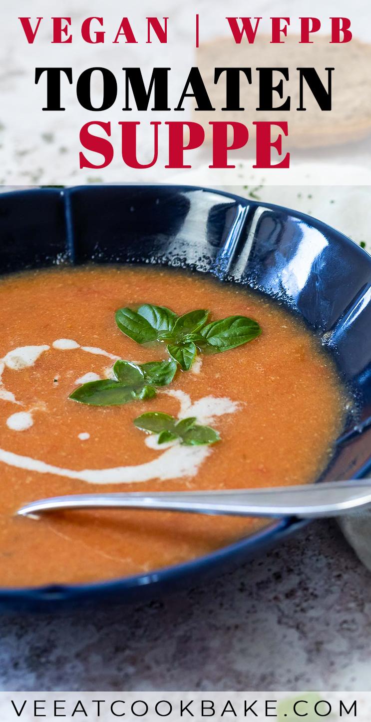 Grafik von einem veganen Tomatensuppe mit Text