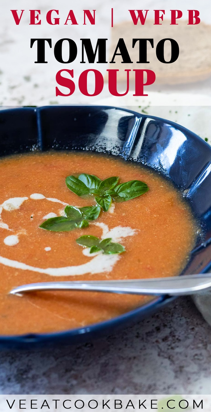 Graphic of vegan tomato soup with text
