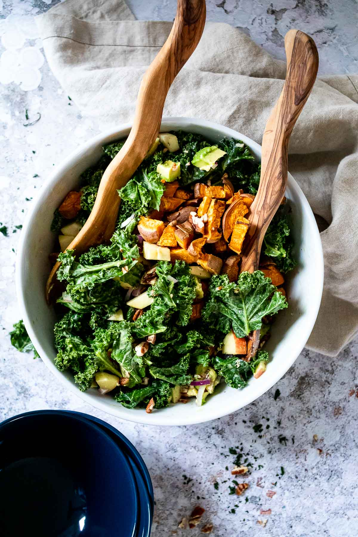 Bird View of a big bowl of oil free kale salad