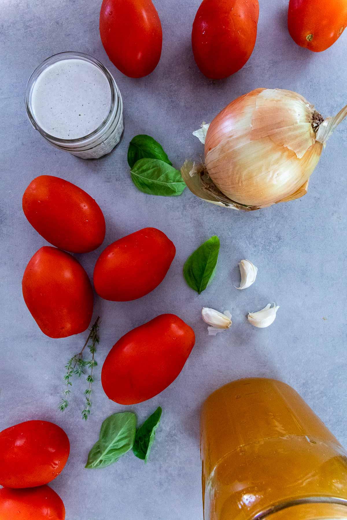 Ingredient shot of vegan tomato soup with tomatoes, sunflower cream, onions, veggie broth