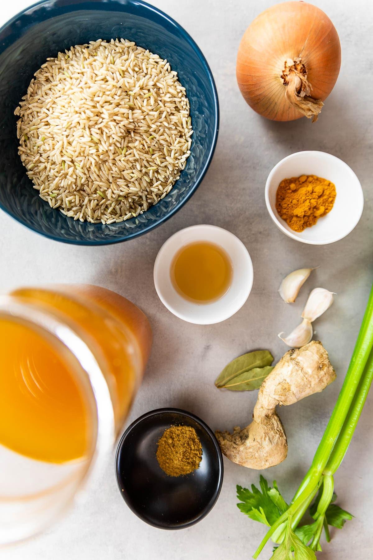 Ingredient shot for vegan turmeric rice.