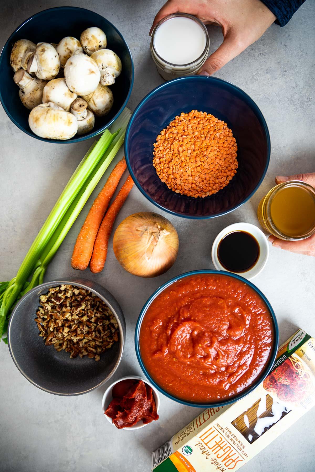 Ingredient Shot for vegan Bolognese