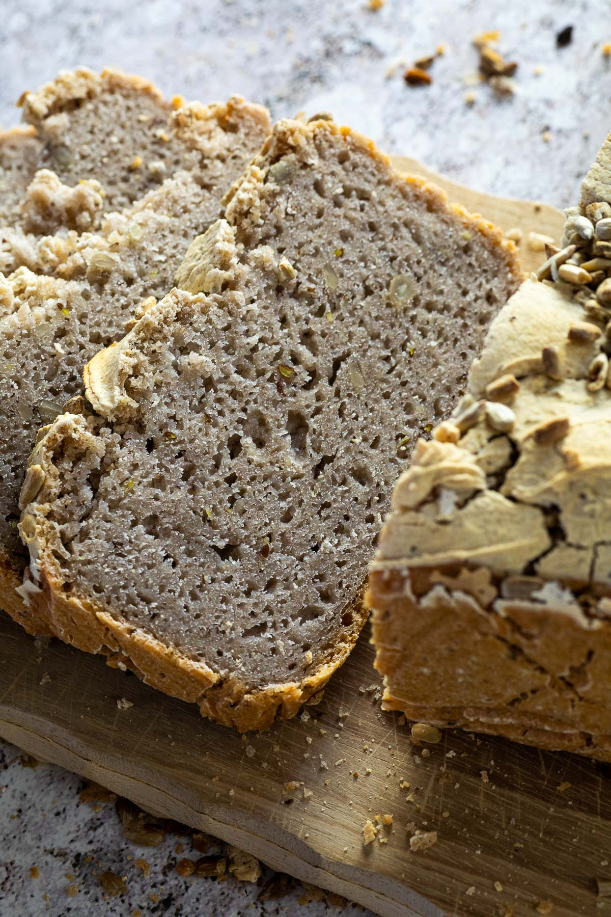 Close up of one buckwheat bread slice