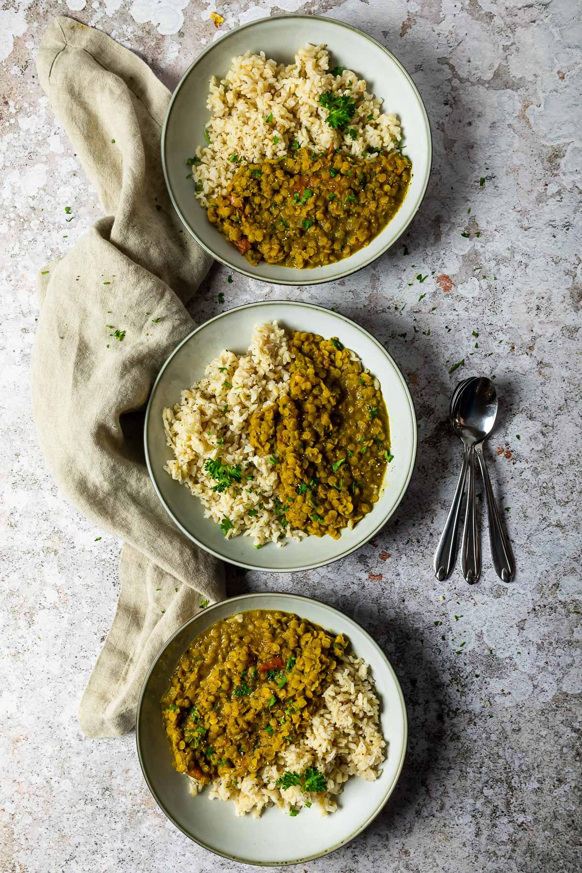 3 Bowls of vegan red lentil dal