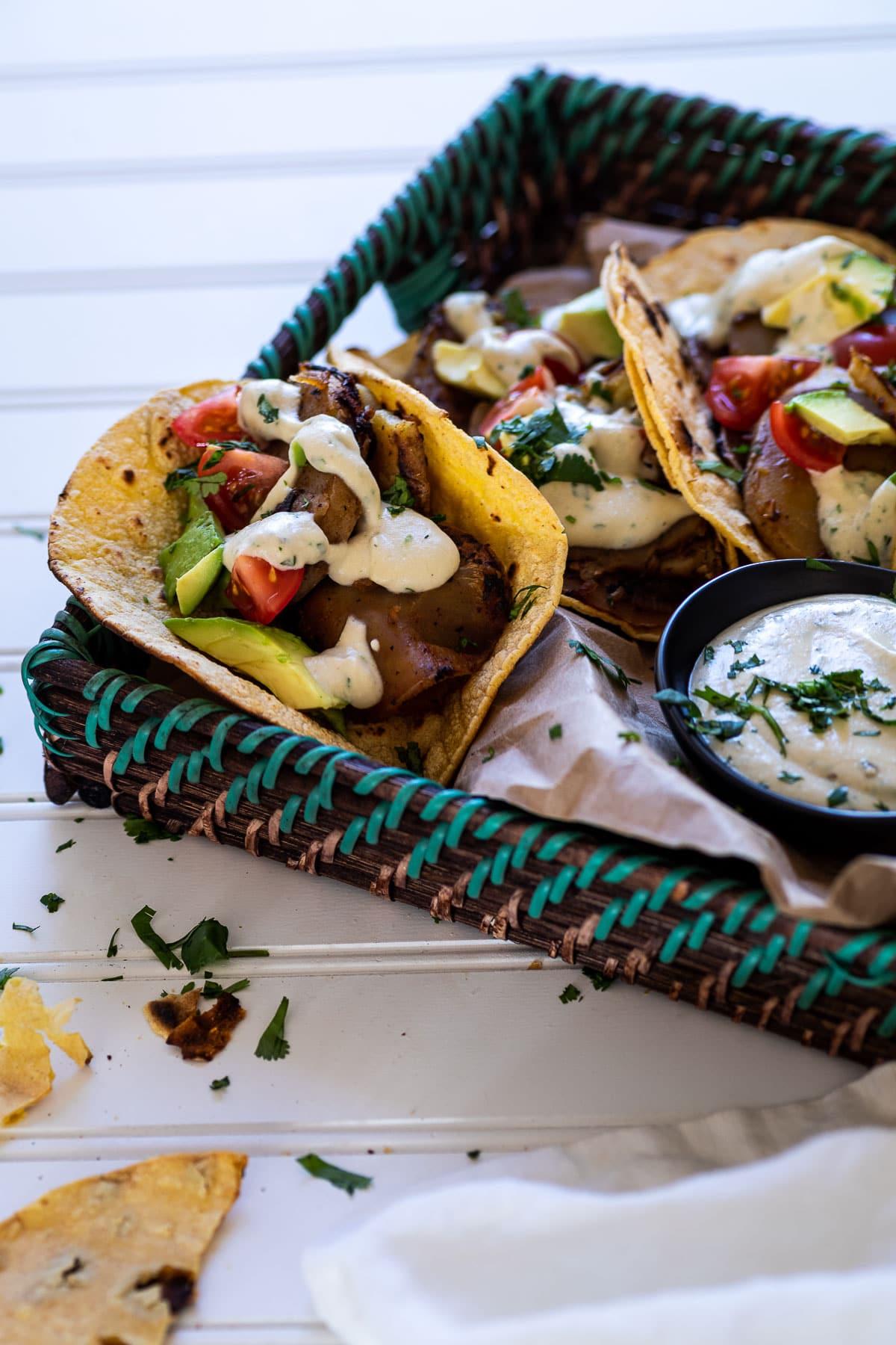 Potato taco in a serving tray