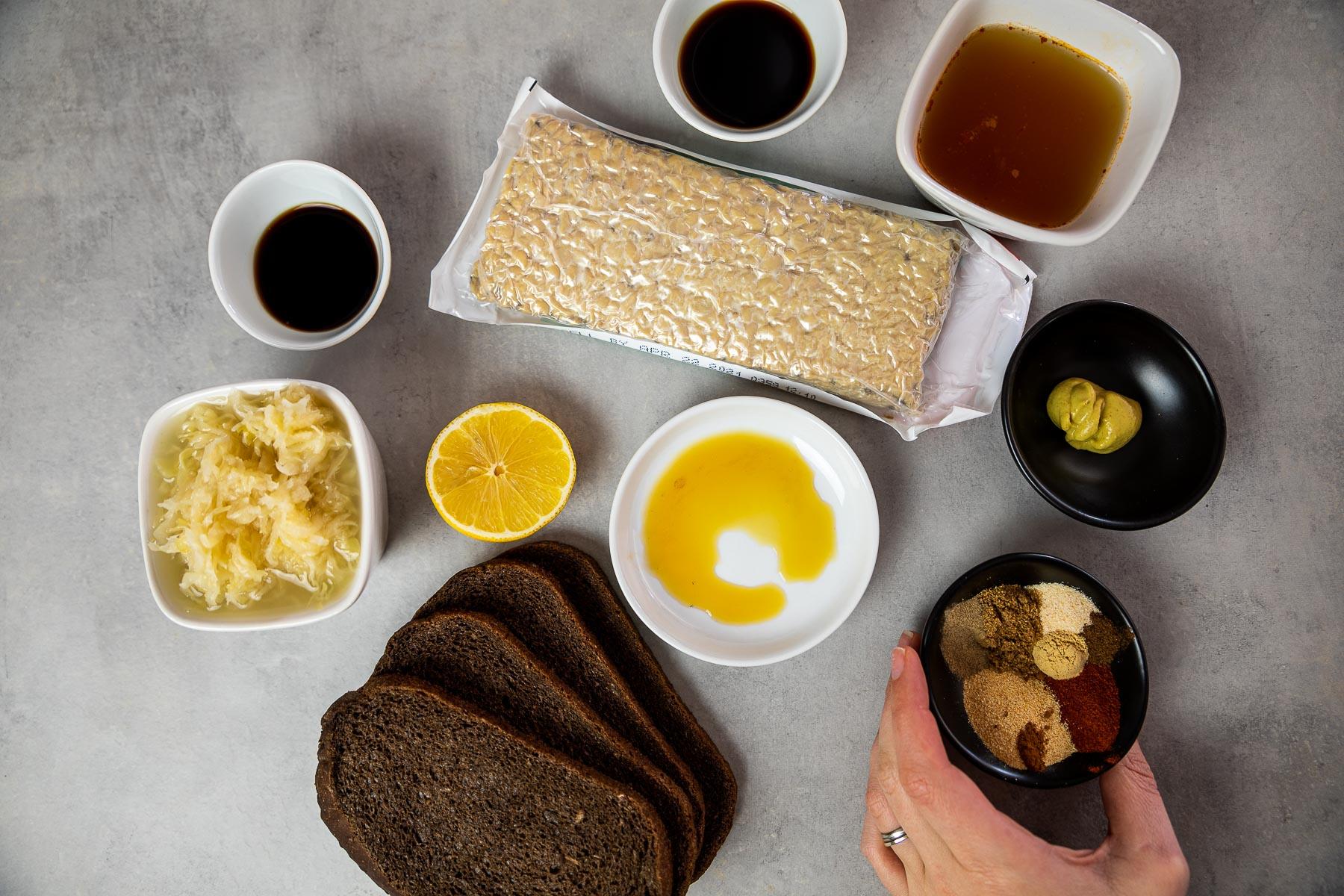 Ingredients for the Reuben sandwich