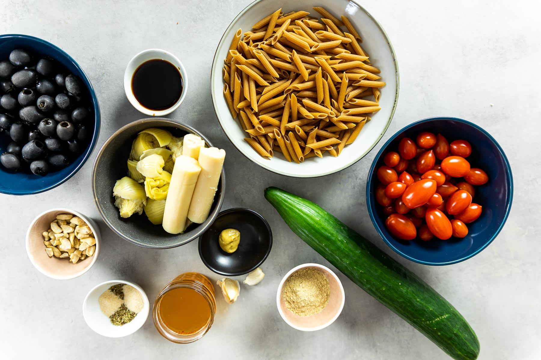 Ingredient shot of the vegan pasta salad
