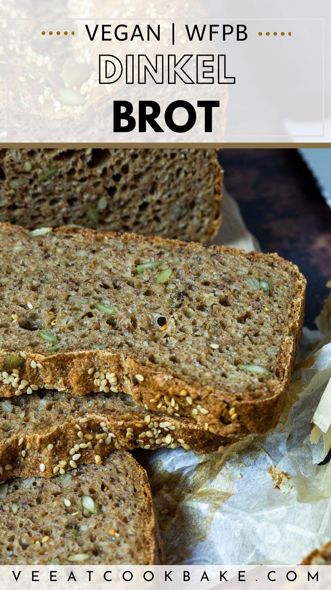 Vegan Spelt bread Pin for Pinterest with text