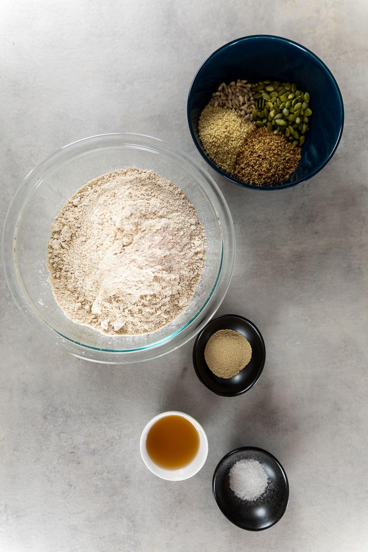 Ingredient shot for the vegan spelt bread