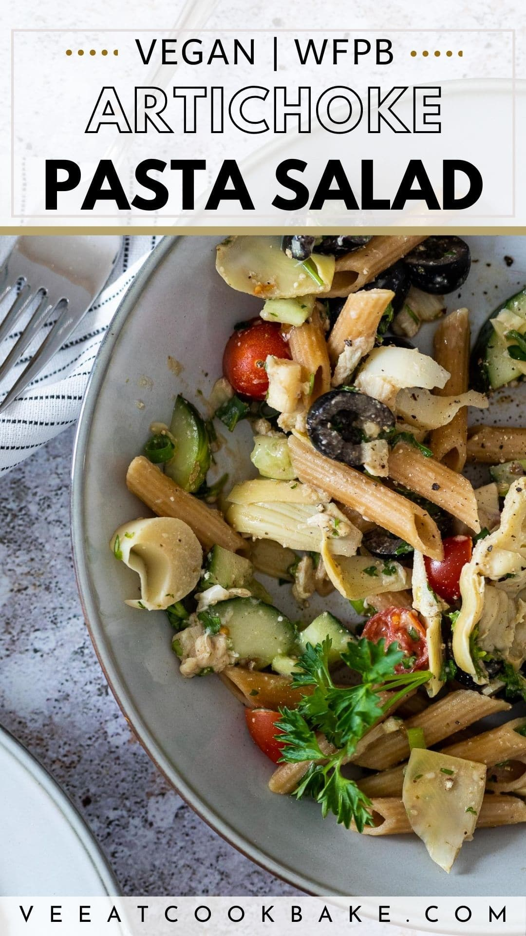 Vegan Artichoke Pasta Salad Pin for Pinterest with Text