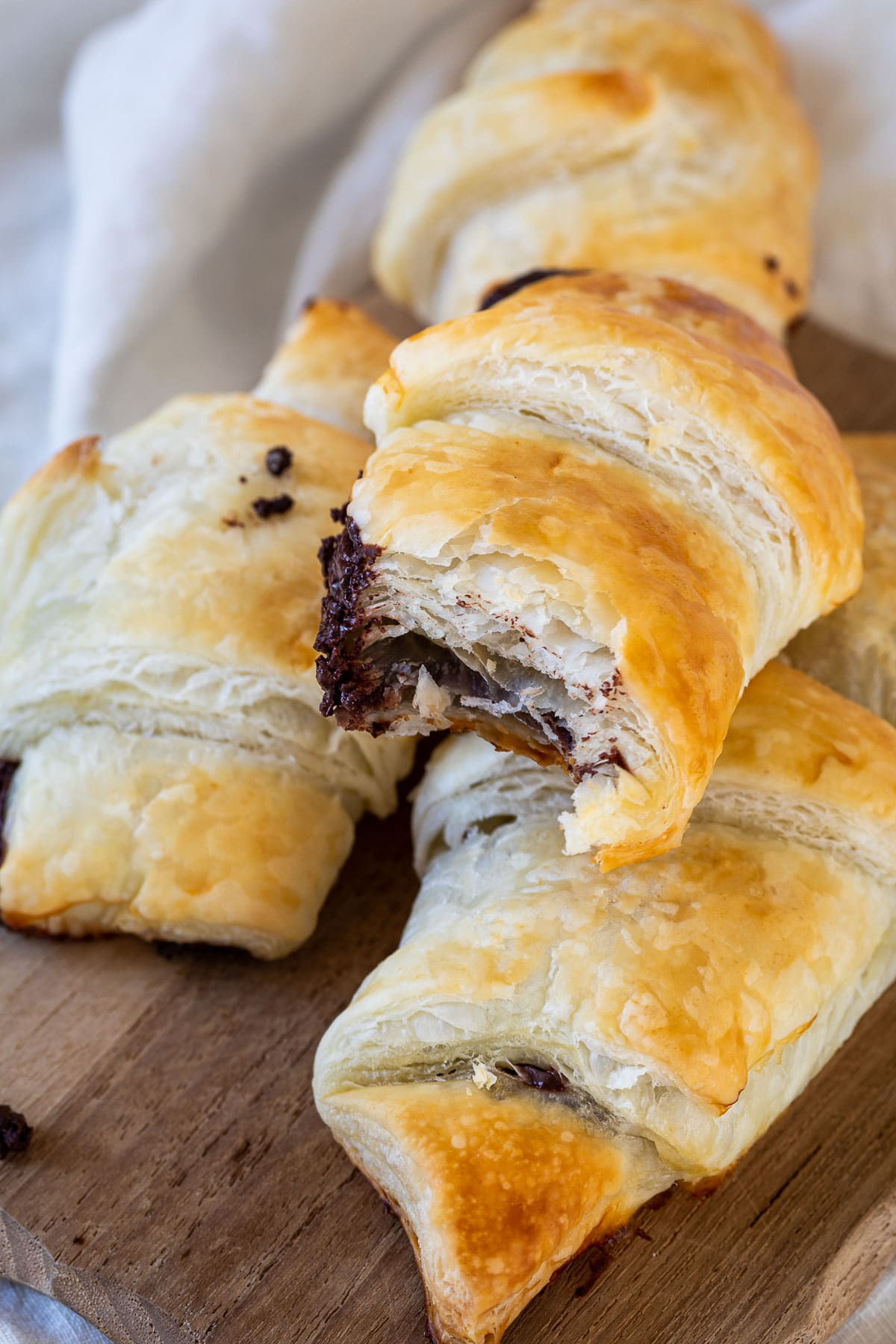 Close up of the vegan chocolate croissants with pastry dough