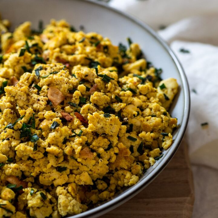 Close up of the vegan scrambled eggs made with tofu and spices